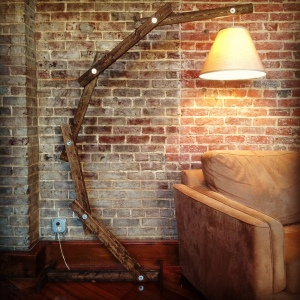 rustic wooden floor lamp